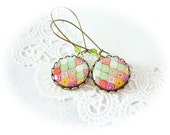 Colorful Rhombs Earrings, bright jewelry, gift for her