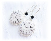 Black and White Clock Earrings