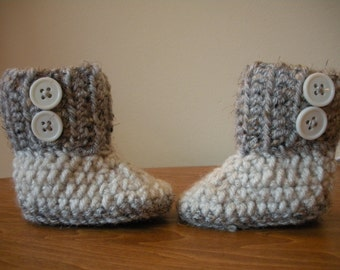Newborn Grey and Oatmeal Boots