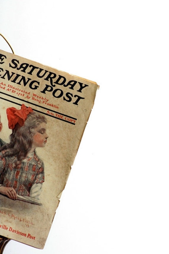 1914 Saturday Evening Post Magazine - I Love You Cover Art - January 17, 1914 Issue, School Crush, Back to School Cover Art