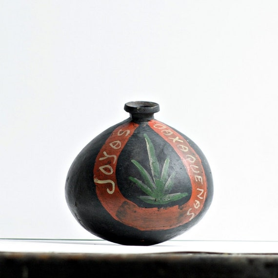 Mid-Century Black Mexican Pottery Vessel - Handpainted Designs, Spanish Markings, Primitive Shape