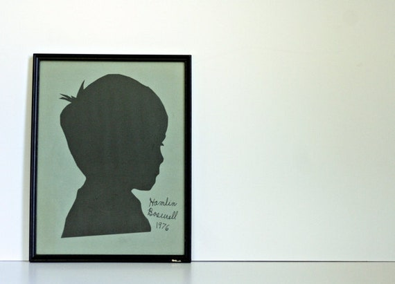 Framed Portrait Silhouette of a Little Boy with a Great Name - Signed and Dated - Large Size - Charming Wall Art