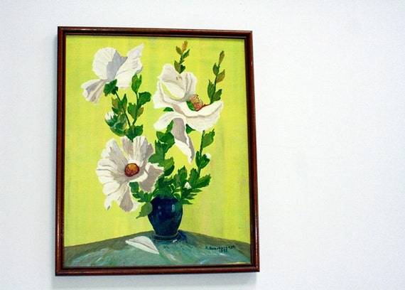 Vintage Hibiscus Still Life Painting - Signed and Dated by Artist - Folk Art, Country Cottage Decor