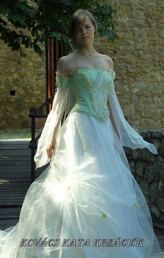 Fairy princess corseted ball or alternative wedding by for Fairytale ball gown wedding dresses