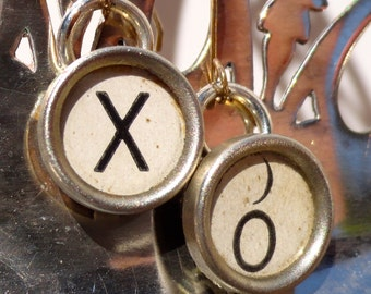 X O Hugs & Kisses Earrings Vintage Typewriter Key Jewelry XO Xs and Os Keys