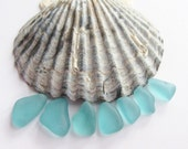 Teal sea glass jewelry supply 7 rare beach glass gems