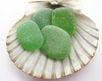 Beach Glass Beads Green - Vintage Genuine - Sea Glass Surf Tumbled Jewelry Supply