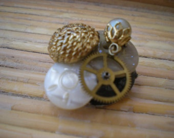 Collage Brooch of Buttons Beads and Watch Part