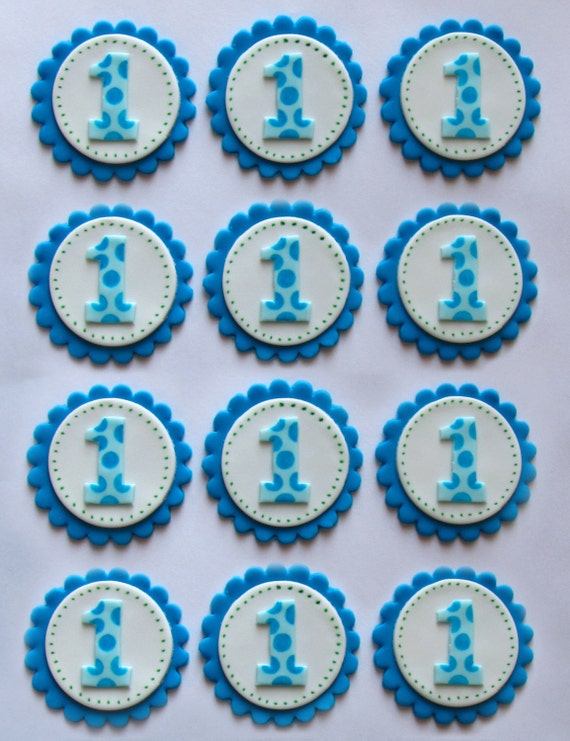 Cake Toppers Birthday Etsy : Items similar to Fondant Cupcake Toppers - 1st Birthday on ...