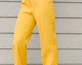 SALE Pants Vintage Mod Trousers 70s Lemon Yellow.  Summer  Mad Men Fashion. Bold Color. High Waist. Primary Colors.