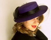 SALE Vintage Derby Hat Purple Race Hat with Veil. Wedding. Mad Men Fashion. Hat Band with bow. Autumn Fall Fashion