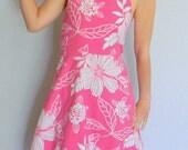 Summer SALE Vintage Junior Sundress Backless Dress White Pink Girl Floral Halter Dress size 14 Pink White Cotton dress. Petticoat