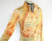 1970s Blouse. Multicolor Shirt. Yellow Brown Orange. Rainbow Boats Sunset Print. Size Medium. Back To School. Mad Men Fashion