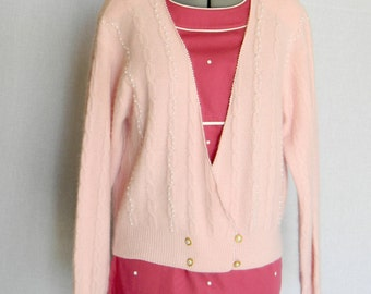 Vintage angora cardigan. 80s pink sweater. Knit beaded jacket. Angora lambs wool. Mother's day gift. Winter Fashion. Pastel