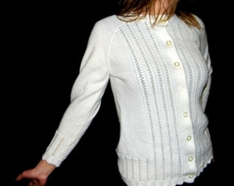 60s Vogue cardigan. White lace sweater top. Mad Men fashion. Vintage Knitwear. Back to School. British Vogue