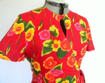 Vintage Summer Dress Romper. 80s Wrap Dress Shorts. Size Large  Floral Dress Red Yellow Green Orange. Primary Colors