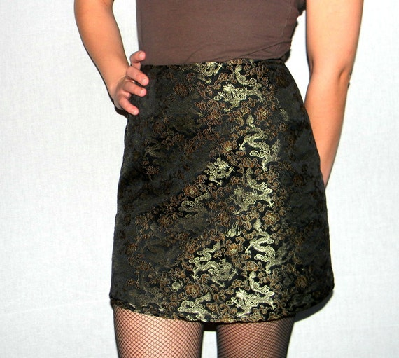 Sale Mini Skirt. Express Dragons Print Fitted Skirt. Made in France. Ready to ship from Colorado USA