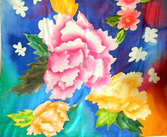 Vintage Hand Painted Floral Silk Scarf. Mint Condition.  Deadstock. Orange Yellow Pink Blue. Gift for her Mother's Day gift. Girlfriend gift