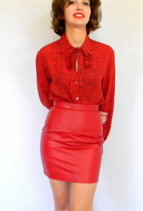 Color Leather SALE Leather Skirt Red Primary color Fashion High Waist Pencil Skirt. Short Skirt Fall Autumn Spring