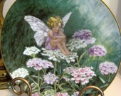 Vintage Villeroy & Boch Decorator plate, The Candytuft Fairy, Heinrich, Germany, pink, white, lavender