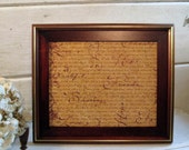 Solid Wood Frame, dovetailed with wood matting, brass accents, leather easel back, shabby decor, 11 x 12.5 inches