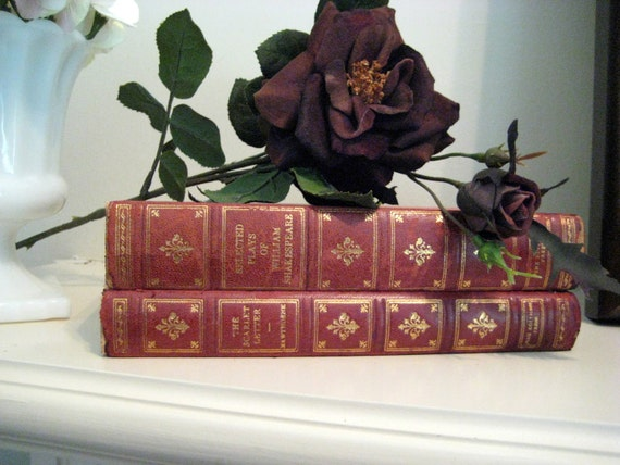 Vintage Shakespeare plays and The Scarlet Letter by Hawthorne,in beautiful embossed red and gold covers
