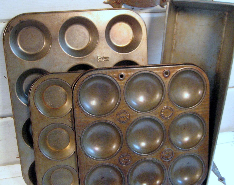 Vintage Baking Pan Set Made In England Muffin Tins Loaf