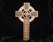 Hand Carved Celtic Cross with Shamrock and Heart detailing
