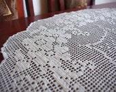 Ecru crochet doily: ecru handmade linen crochet doily with flowers