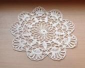 White crochet doily: white handmade linen crochet flower doily