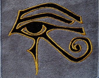 """Grey Suede Patch Embroidered Eye of Ra 4"""""""