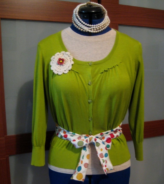 Lime Upcycled Sweater SZ M