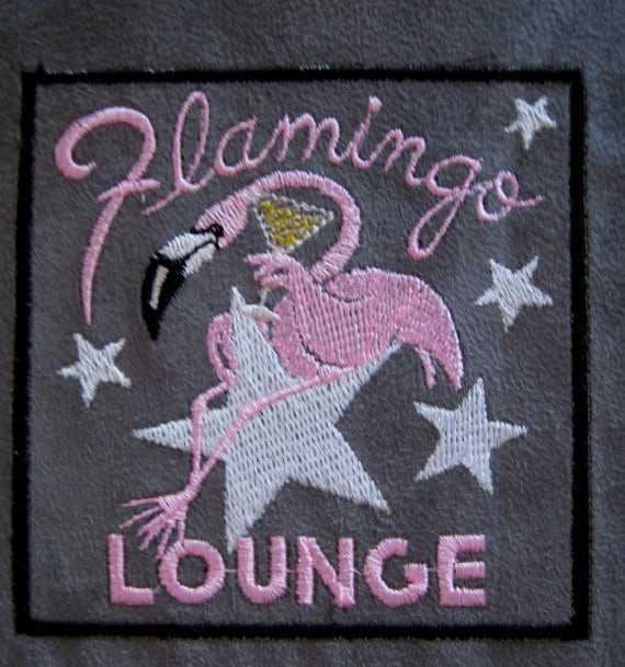 """Patch Embroidered Pink Flamingo 4 """""""