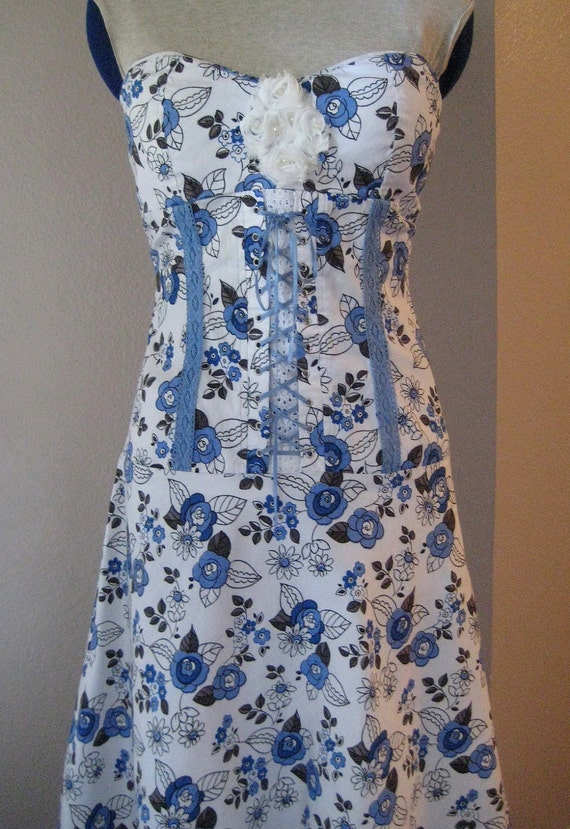 French Country Corset Upcycled Dress SIZE M RESERVED KATELYN