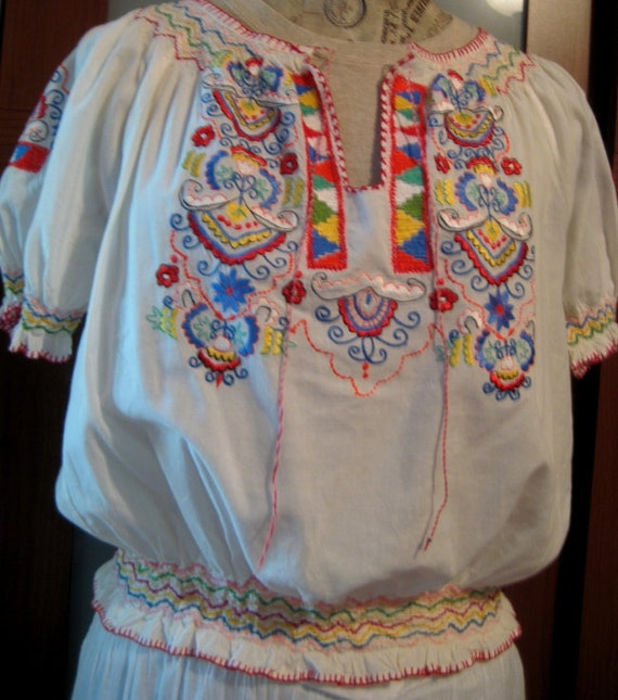 Mexican Embroidered Blouse Upcycled Size M L RESERVED