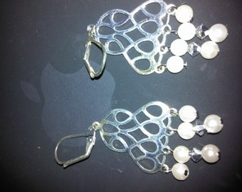 Chandelier Crystals and Pearls Earrings