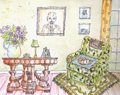 ORIGINAL WATERCOLOR PAINTING, sleeping tabby on chintz chair, stately gryphon table, purple flowers in vase