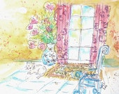 ORIGINAL WATERCOLOR PAINTING, gray cat purring in the sun, french doors, pink curtains, pink heart flowers, blue chair