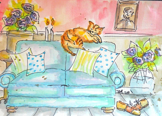 ORIGINAL WATERCOLOR PAINTING, tabby cat on couch, purple flowers and wingtips