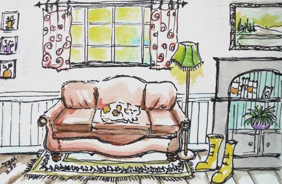 ORIGINAL WATERCOLOR PAINTING, calico cat sleeping on leather sofa, bookshelf and yellow rainboots