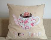 Floral 'Tea Time' Teapot Cushion Cover