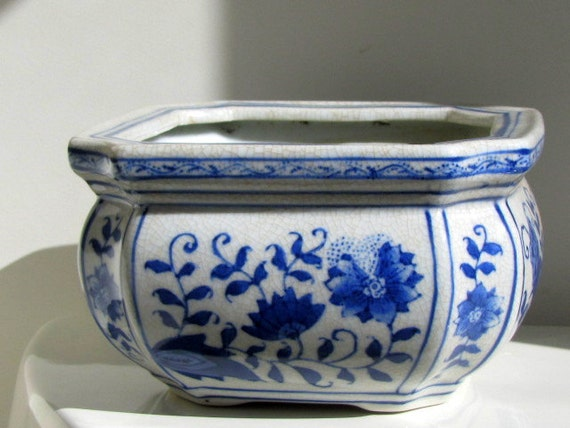 Vintage Blue And White 7 Square Ceramic Planter