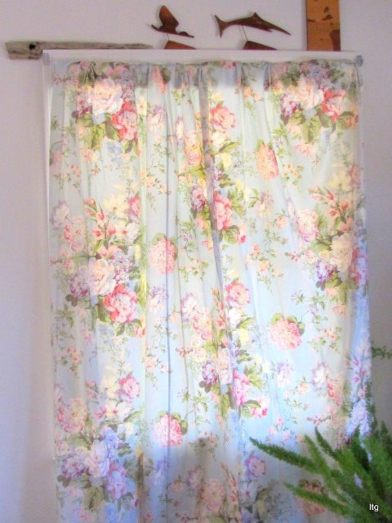 Clearance sale price waverly curtains aquamarine floral 3 panels