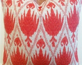 "Ikat Pillow Decorative Designer cover 20"" X 20"" red and cream"
