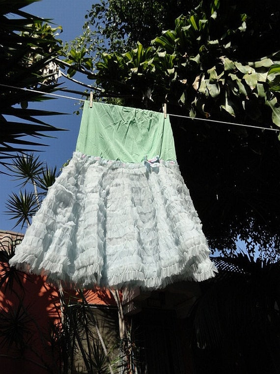 Mermaid Miss K Revived hand dyed seafoam sky blue lace petticoat crinoline