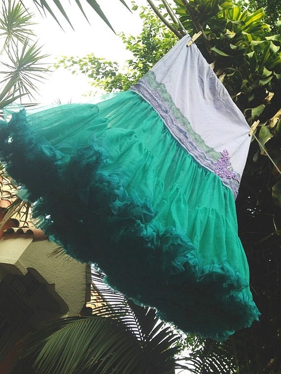 Mermaid Miss K revived true lilac & teal chiffon lace boho maxi pettiskirt