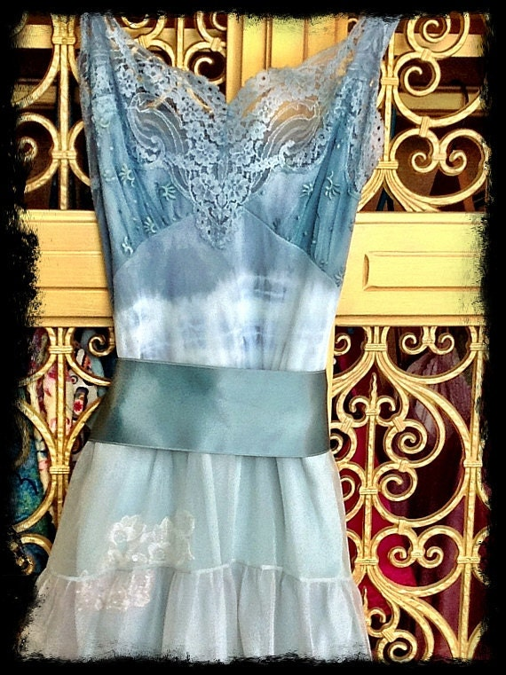 Reserved for carole Sale was 120 Mermaid Miss K revived teal sage & white chiffon lace embroidered petticoat babydoll prom dress