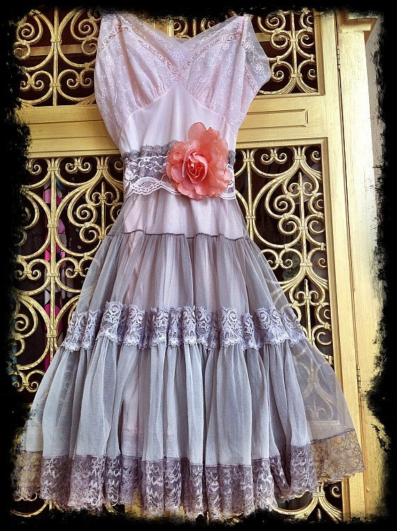 Reserved for Vanessa lace boho mini dress revived ballerina pink & grey fog chiffon by Mermaid Miss K