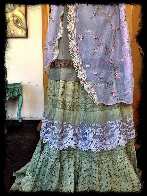 reserved for Stephanie S pink olive embroidered boho marie antoinette garden party dress by mermaid miss k