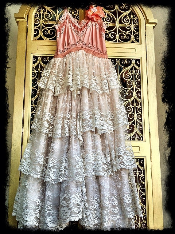 dusty antique pink empire waist tiered lace formal dress by mermaid miss k